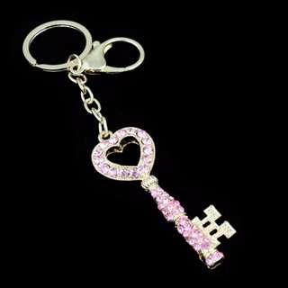 Diamond Studded Keychain - Key (Pink)