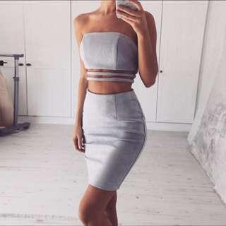 Grey Suede Leather Bodycon Bandage Dress
