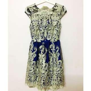 Short Laced Dinner Dress (Navy Blue)