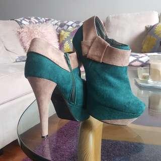 Suede boots high heels