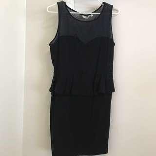 NEW LOOK Black Peplum Dress Size 18