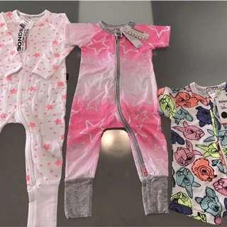 NEW BONDS baby girl zip Wondersuit Romper Sizes 0,0,1