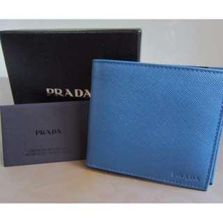 <BNIB> Authentic Classic Prada Saffiano Wallet for Men (Blue)