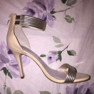 PINK INC NUDE STRAPPY HEELS