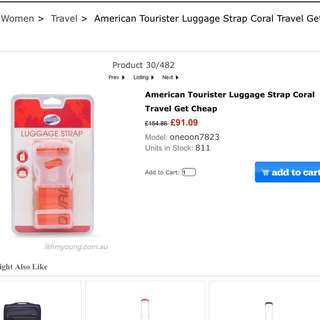 American Tourister Luggage Strap Coral for 28-30inches bag Large