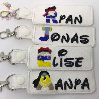 Disney character name key fobs
