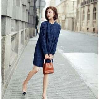 韓國經典格子長袖修身孕婦洋裝T08923