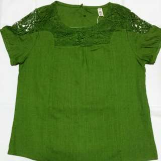Dark green blouse with lace collar/sleeve