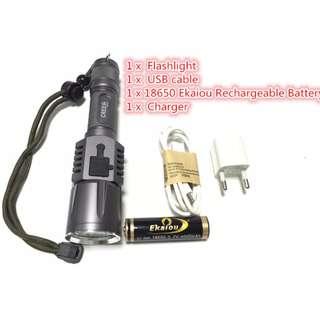 Premium Rechargeable USB LED Fashlight L2 Lanterna High Power Torch 3800 Lumen Zoomable Flash Light