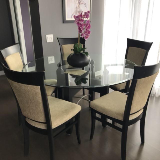 """52"""" glass round table with 5 chairs"""