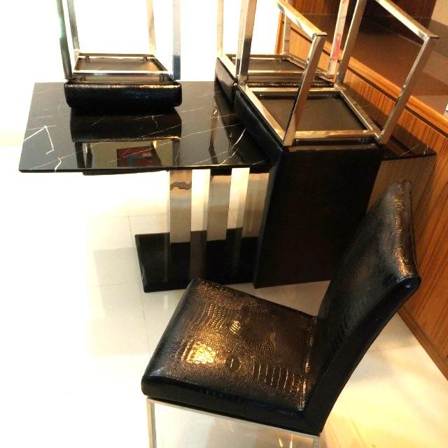 超低價再降價出清不鏽鋼座鱷魚紋時尚餐椅組