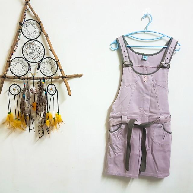 專櫃粉色吊帶短褲