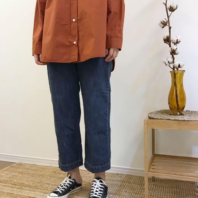 正韓 收邊燙線微寬牛仔褲