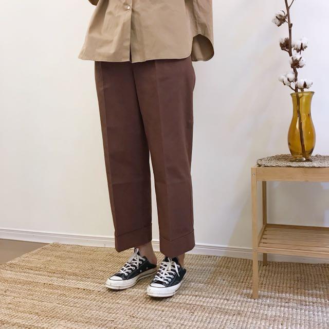 正韓 反折褲管打褶寬褲