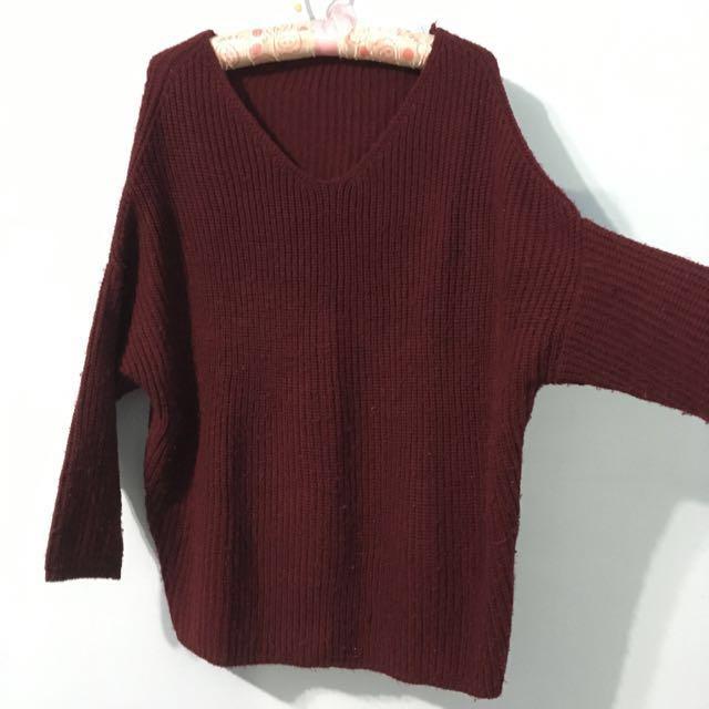 秋冬款酒紅色長袖針織毛衣 #雙十一女裝出清
