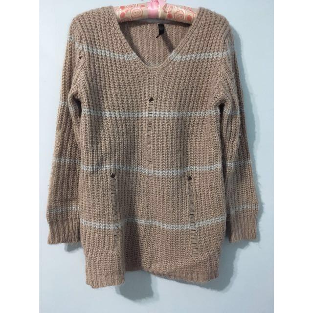 秋冬長袖條紋長版針織毛衣 #雙十一女裝出清