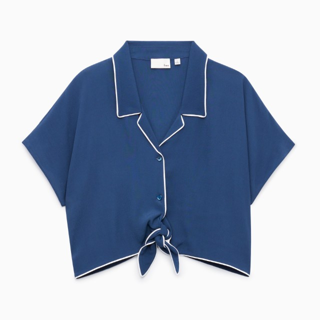 *Aritzia* (S) Wilfred Free Huang Blouse in blue with write seam