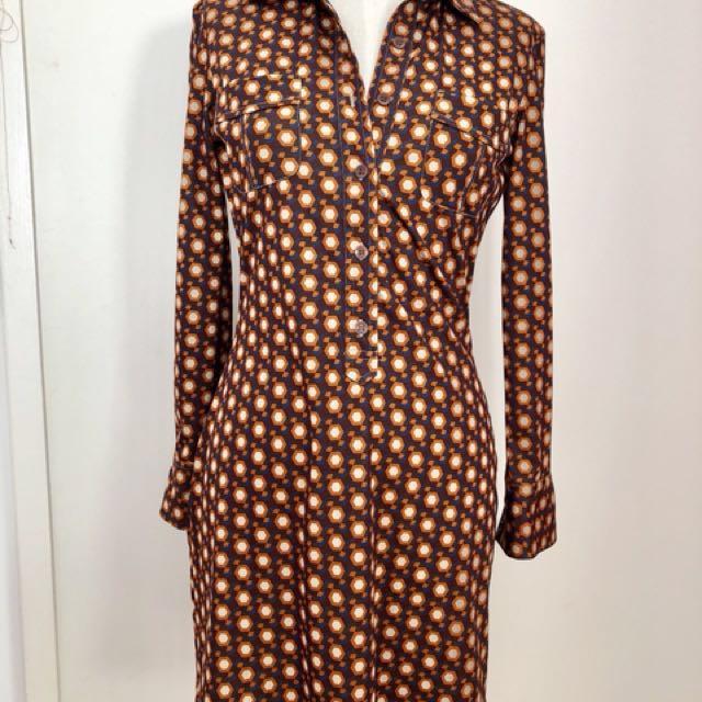 Authentic RETRO 70s vintage long sleeve shirt dress size small orange brown