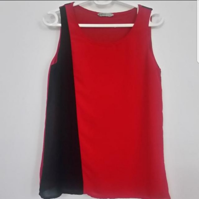 Black and Red Chiffron Blouse