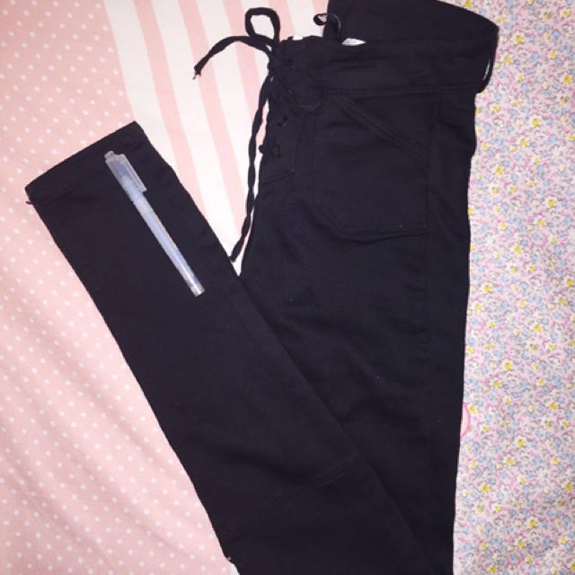 Black High Waist Stretch Pants with lace || H&M