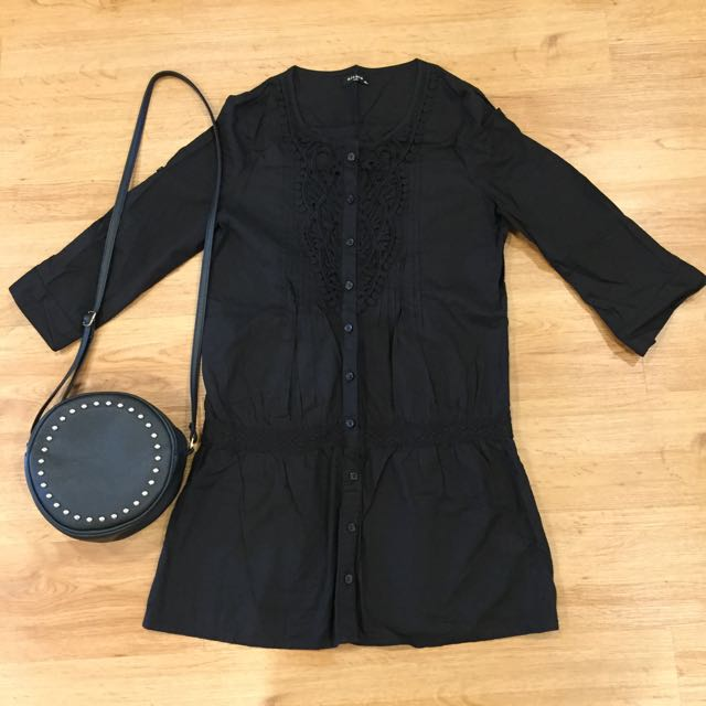 Black Lace Shirt Dress