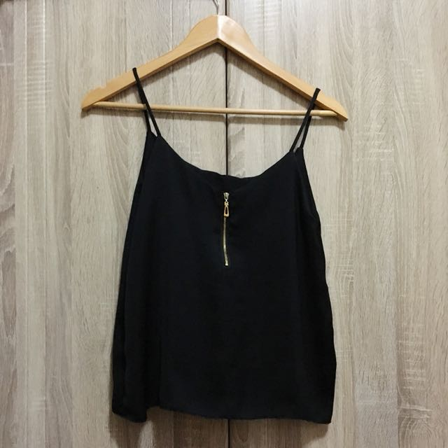 Black Silk Top w/ zipper