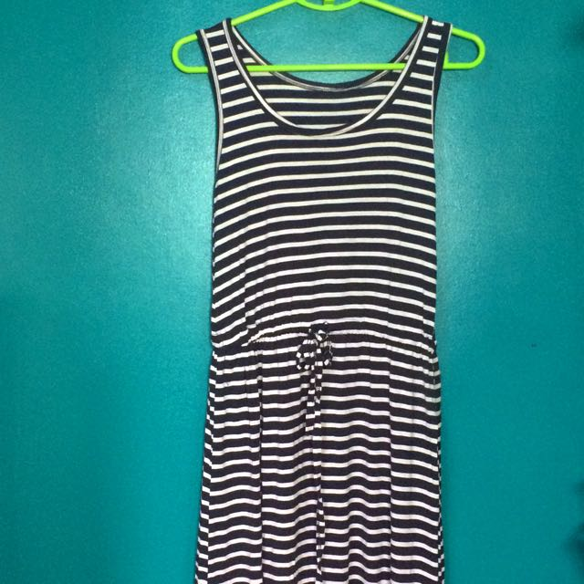 Blue stripes long dress