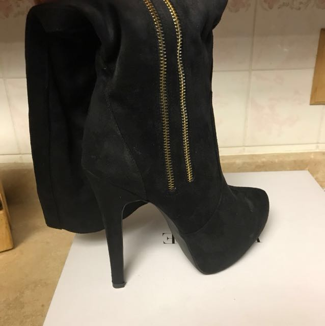 Brand new Black Heeled boot with Gold detail