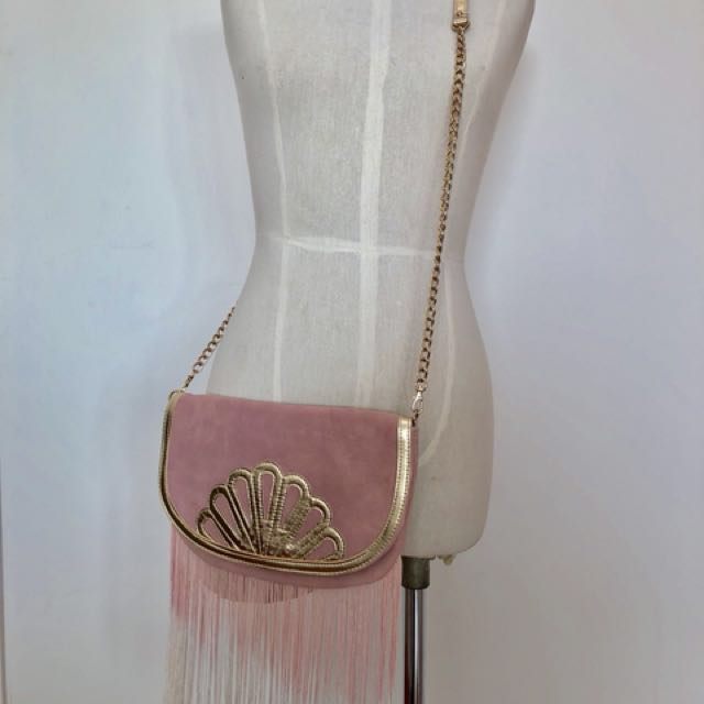 Brand new without tag  Forever New genuine Suede leather pink cross body satchel clutch fringing gold detail and chain