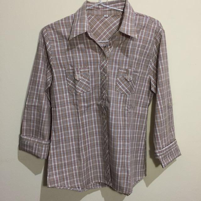 Brown Plaid Shirt (kemeja)
