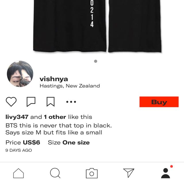 """BTS """"thisisneverthat"""" top in black."""