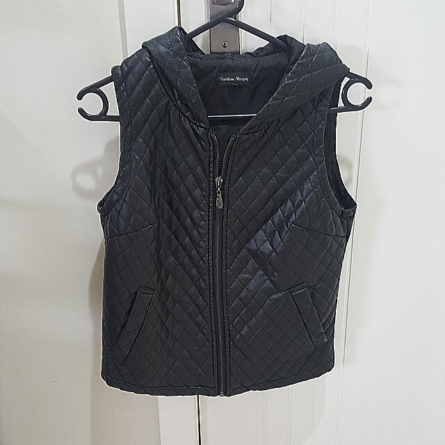Caroline Morgan Black Leather Vest Size 8