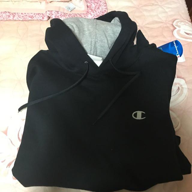 (全新)Champion 帽T 黑/灰 M
