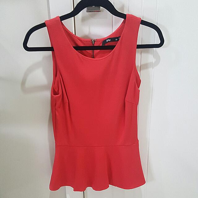 Coral Red Top From Sportsgirl Size Xs