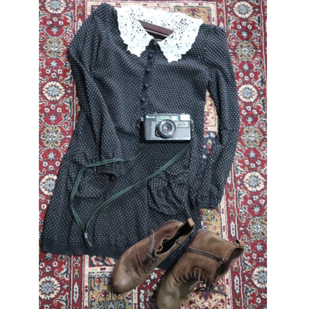 Detailed Collar Vintage Dress