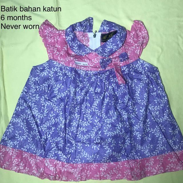 Dress baby Batik bahan katun (new without tag)