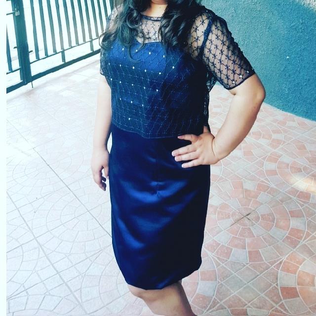 Dress pesta biru dongker / party dress