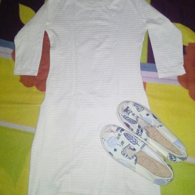 Dress Yellow White Stripes