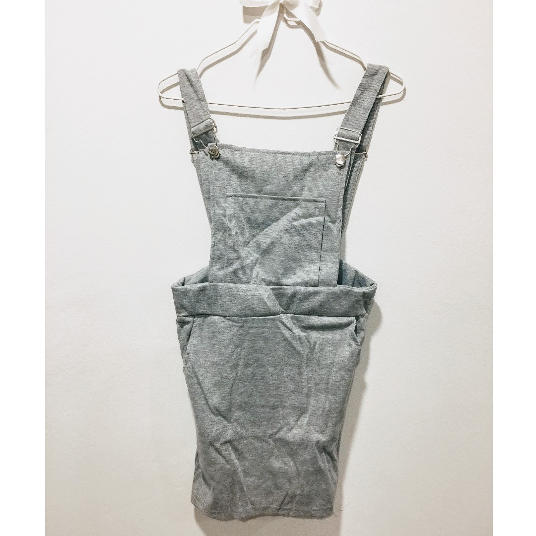 Dungaree Dress - Made In Korea (Grey)