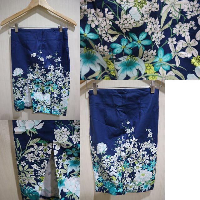 Floral Blue Slit Skirt