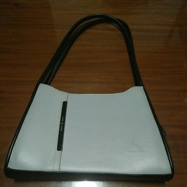 Gray and black color bag