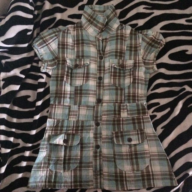 Green checkered blouse with gold linings