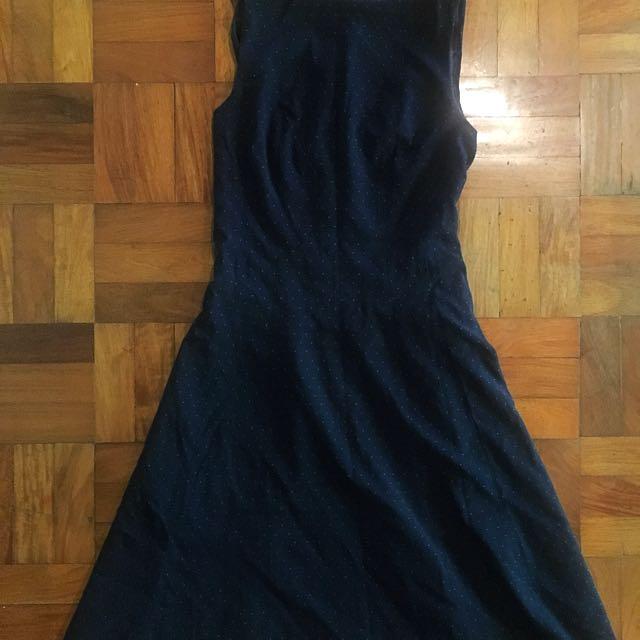 H&M Navy Blue Polka Dot Dress