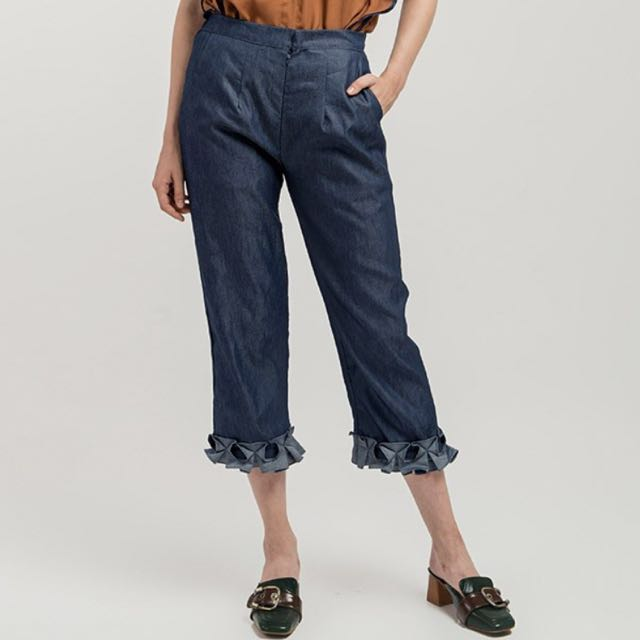 LABEL8STORE Ruffle Denim Navy Culotte Pants