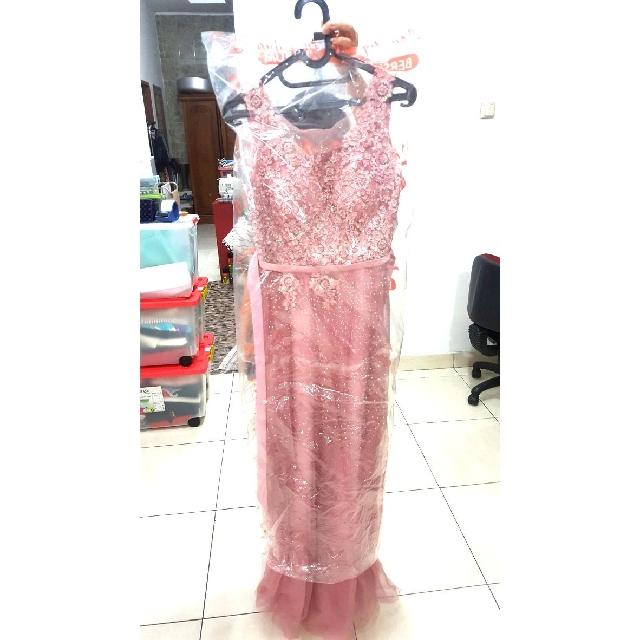 Long dress pink/ baju pesta panjang pink