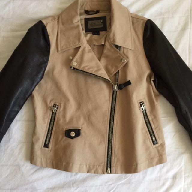 Mackage Debora Canvas and Leather combo jacket