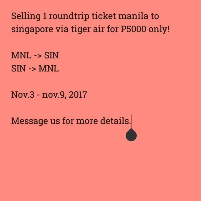 Manila To Singapore Roundtrip Ticket