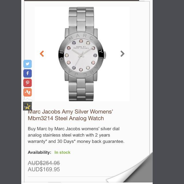 Marc Jacobs Amy Silver Watch MBM3214