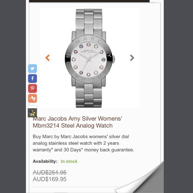 Marc Jacobs Silver Amy Analog Watch