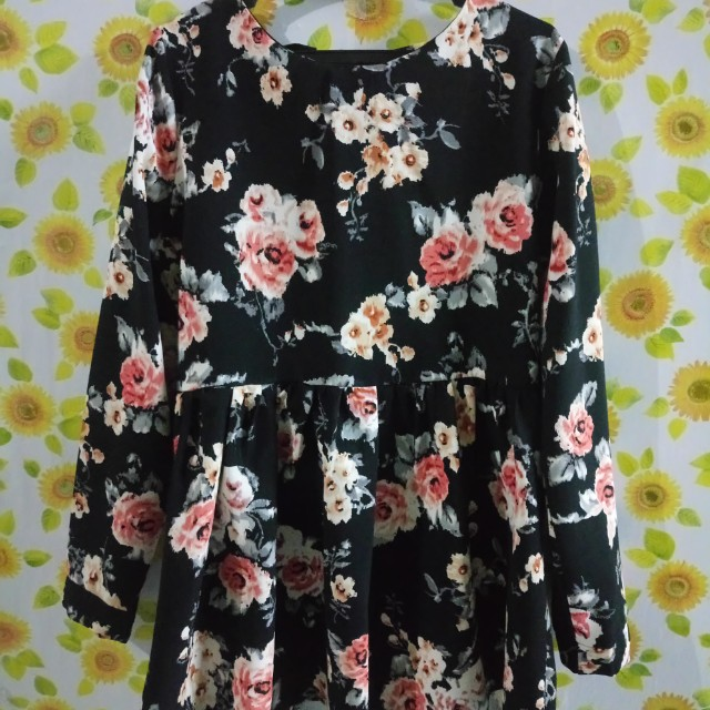 Mini Black Floral Dress